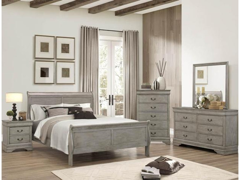 Crown Mark Bedroom Louis Philip Night Stand Grey B3500-2 ...