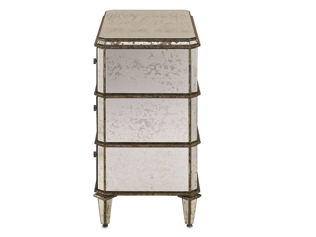 Currey And Company Bedroom Antiqued Mirror Chest 4204 Hickory Furniture Mart Hickory Nc