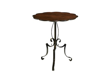 Fine Furniture Design Scalloped Metal and Wood Table