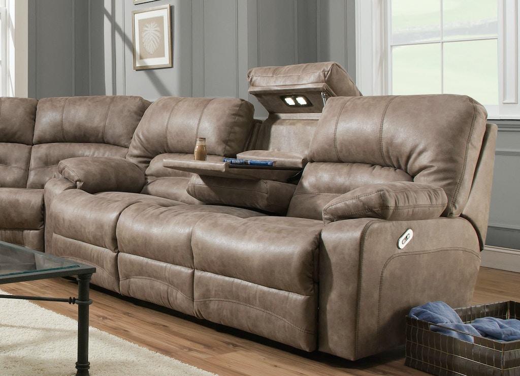 Franklin Reclining Sofa W Drop Down Table Lights 50044