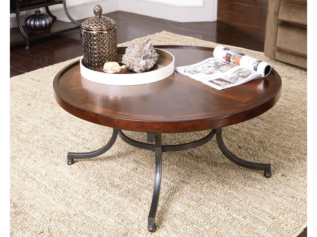 Hammary living room round cocktail table 358 911 cherry for Cocktail 911