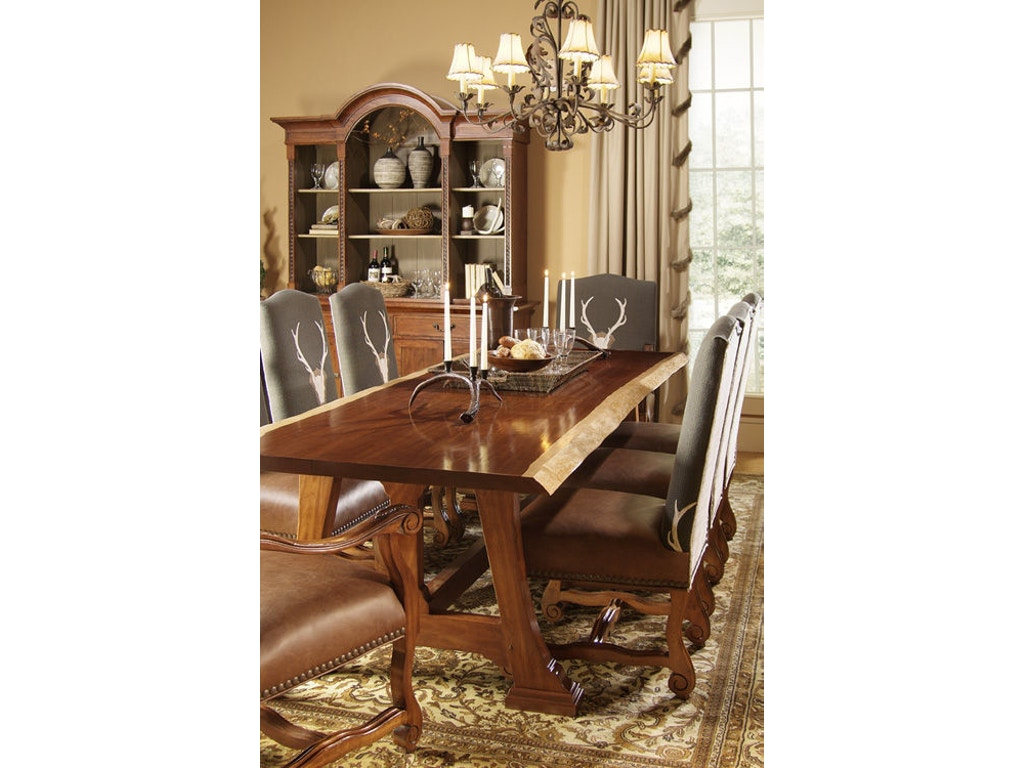 Harden Furniture Dining Room Live-edge/Trestle Base Dining Table ...