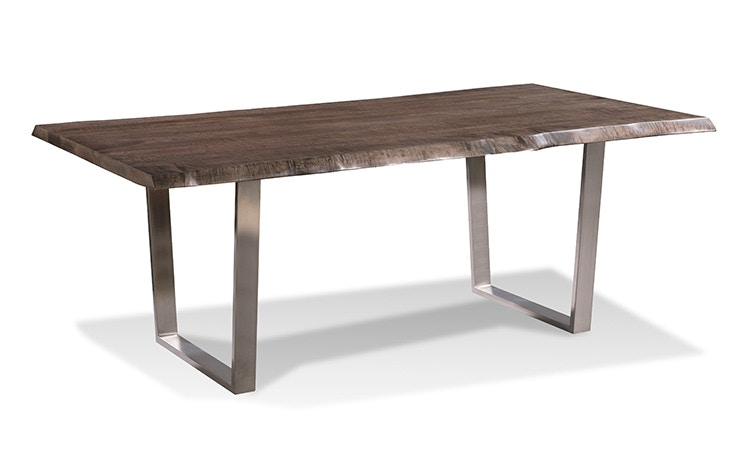 Harden Furniture LiveEdge/Brushed Stainless Steel Base Dining Table 1673