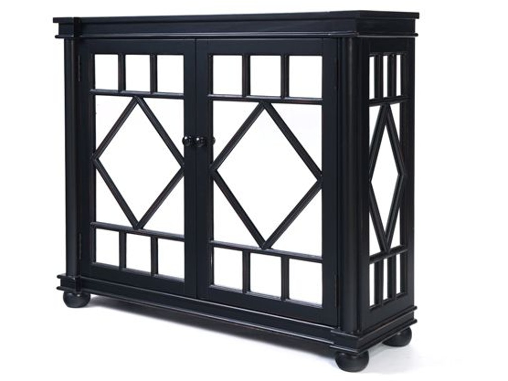 Heather Brooke Bedroom Black Mirror Accent Console Chest