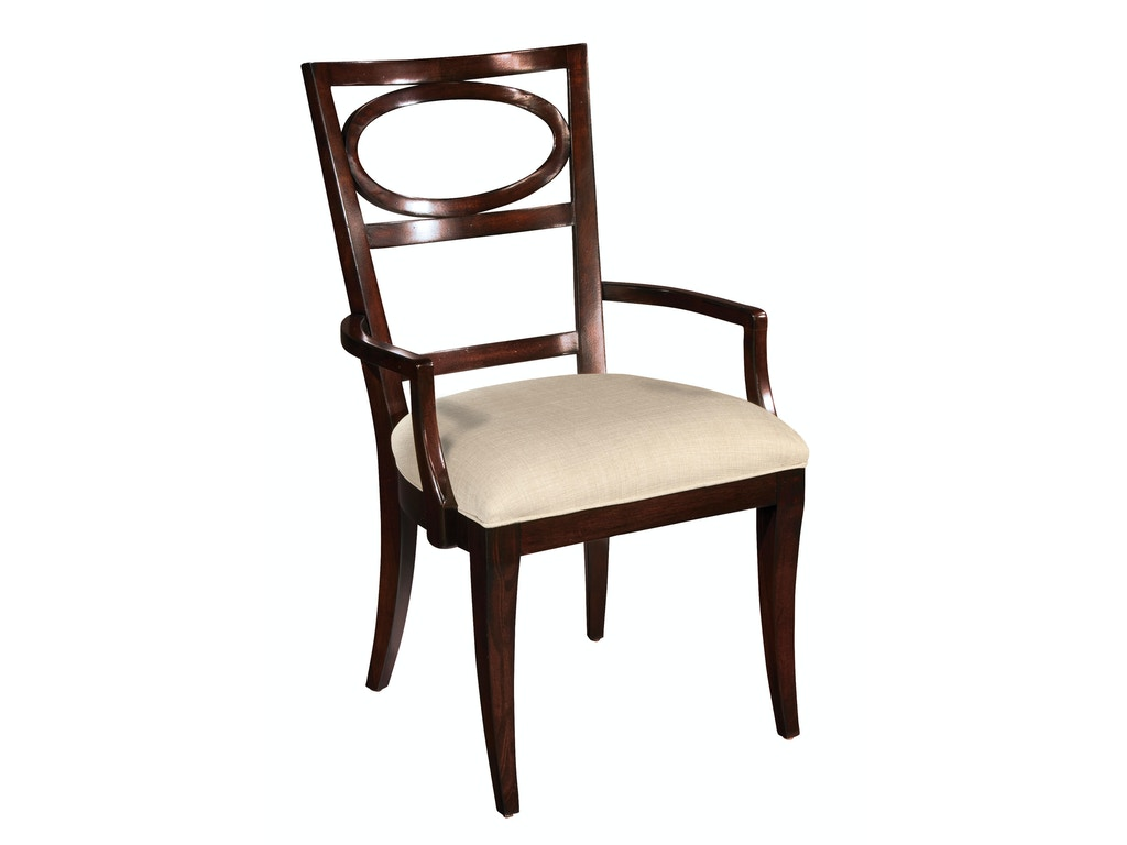 Hekman dining room arm chair oval back 23124 mcelherans for Oval back dining room chairs