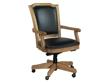 Hekman Wood Frame Black Leather Office Chair 7-9257B