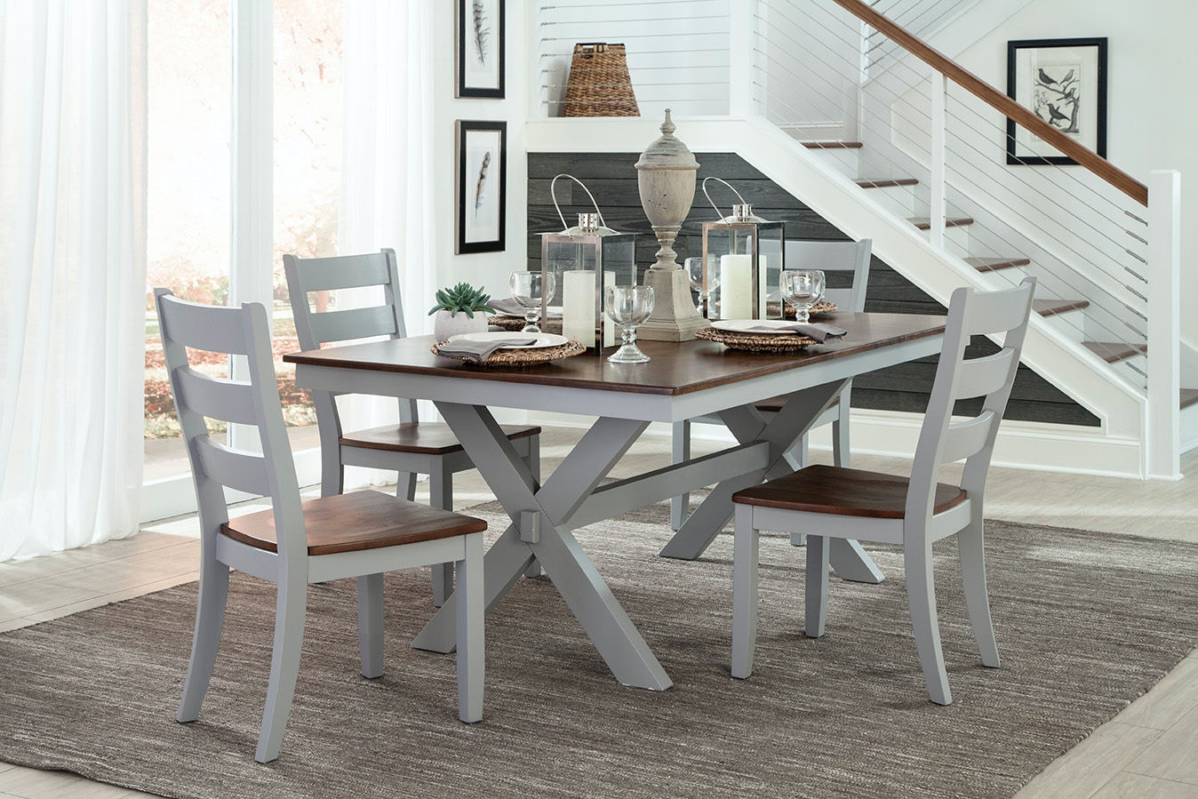 Intercon Dining Room Small Space 42 x 72 Trestle Dining Table SS