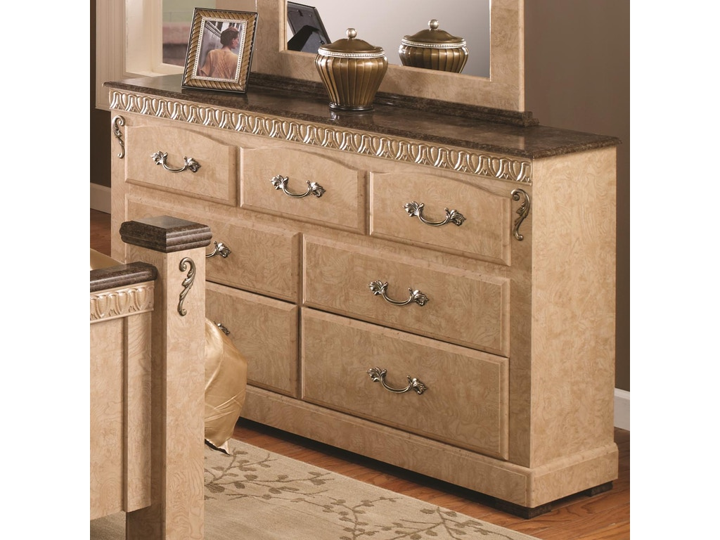 Lang furniture bedroom 7 drawer dresser with roller glides for S f furniture willmar mn
