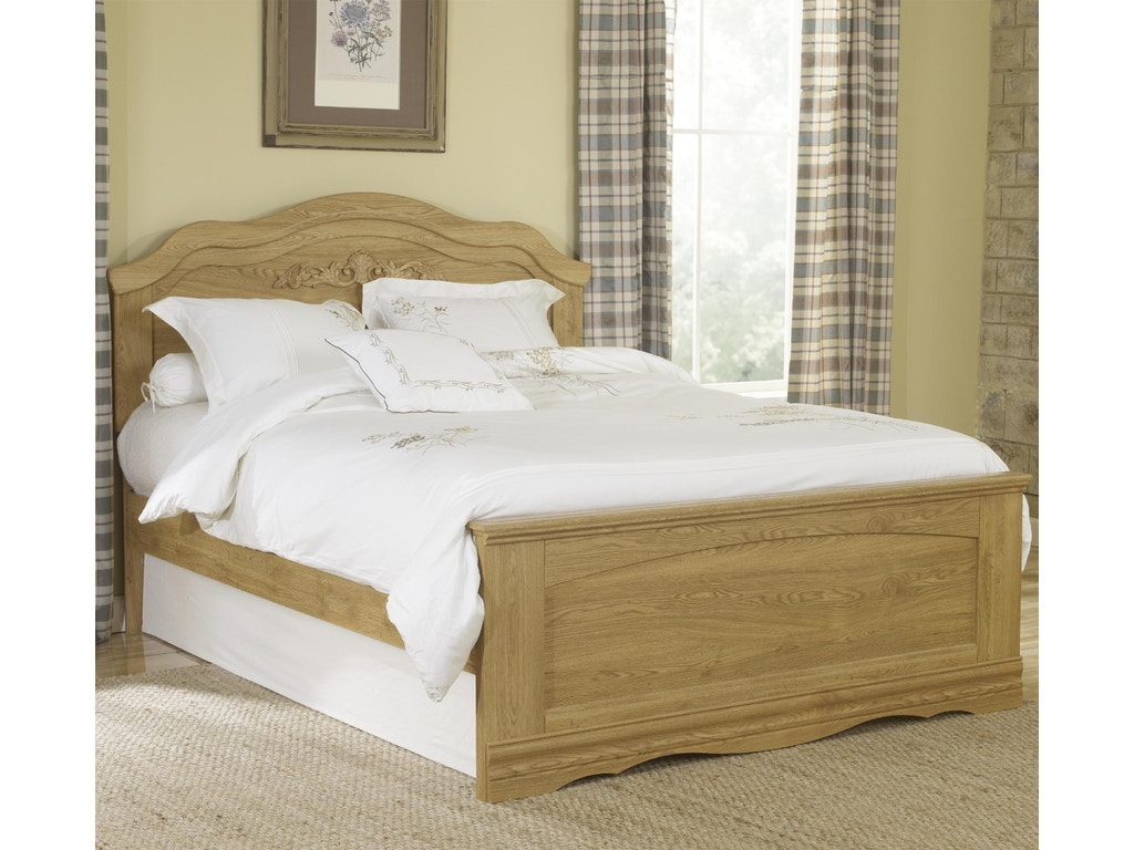 Lang Furniture Youth Queen Panel Bed With Rounded Headboard OAK-70-10-HFR-Q  at Alpena Furniture