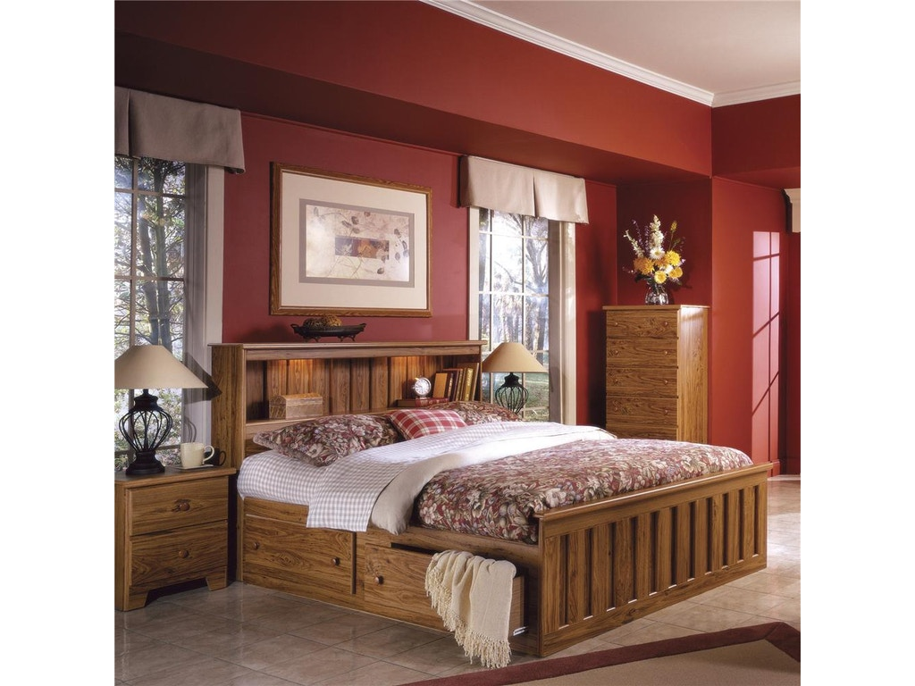 Lang Furniture King Bookcase Bed With Under Bed Drawer Storage And Interior  Lighting SHA-H
