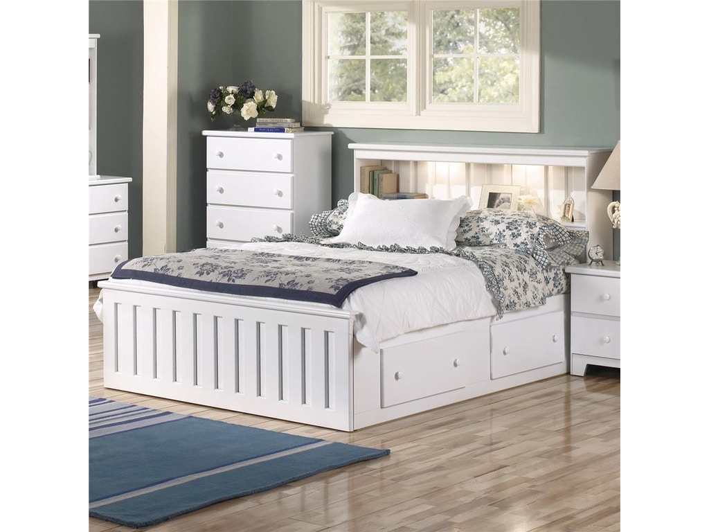 Lang Furniture Queen Bookcase Bed With Under Bed Drawer Storage And  Interior Lighting SHA-W