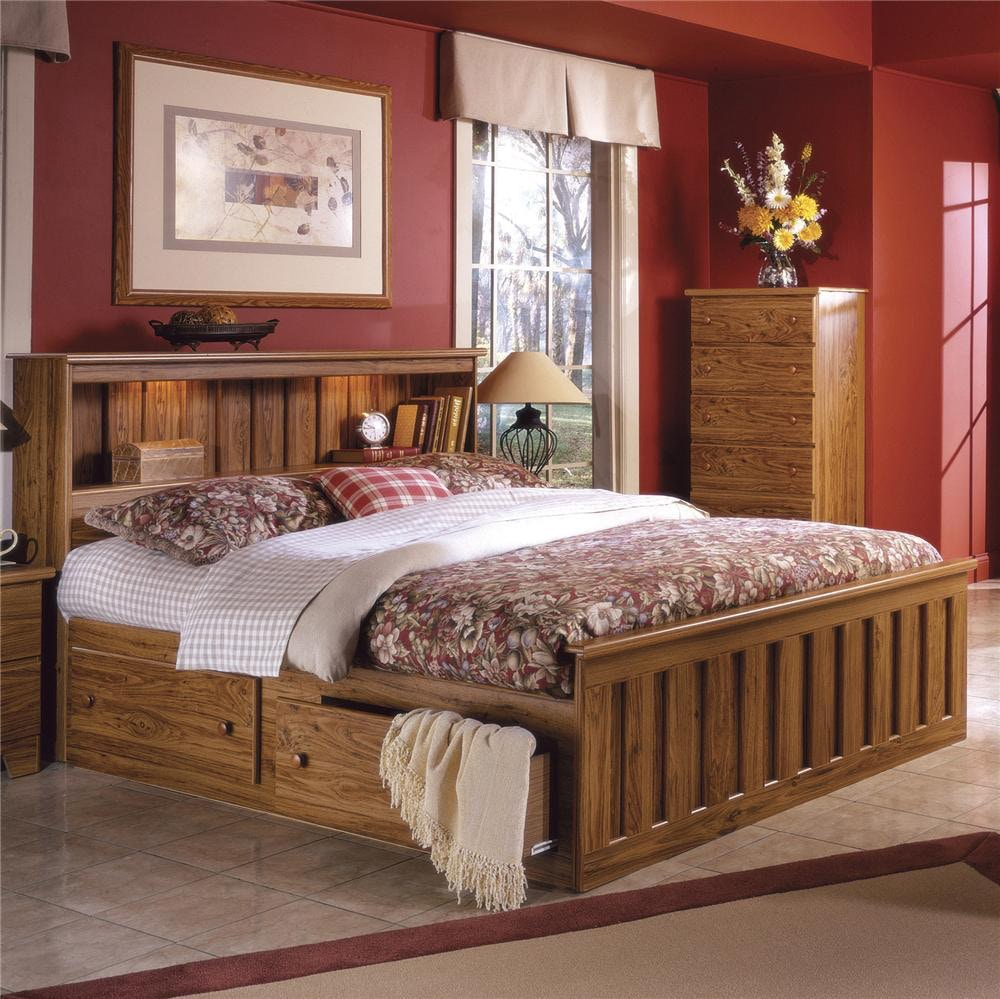 ... Lang Furniture Full/Queen Bookcase Headboard With Lights SHA H 5/0BC12