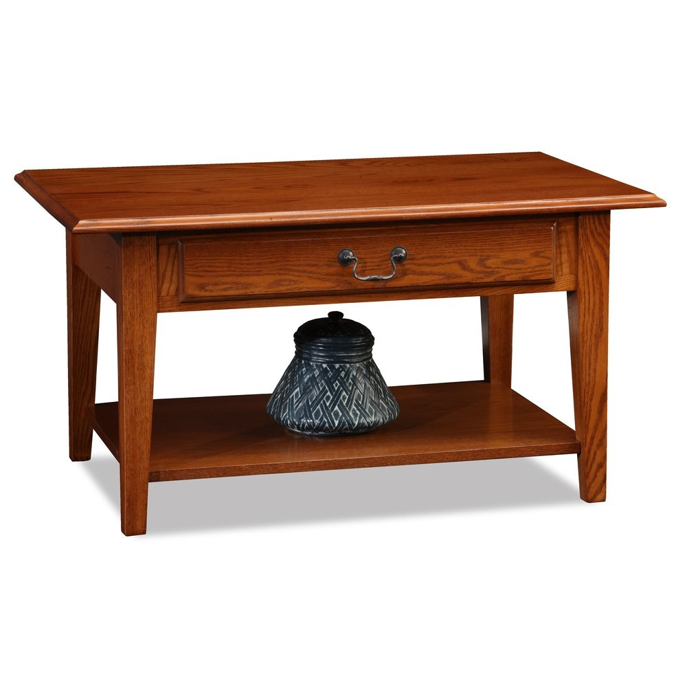 Leick Furniture Shaker Solid Oak Drawer Coffee Table 10029MED