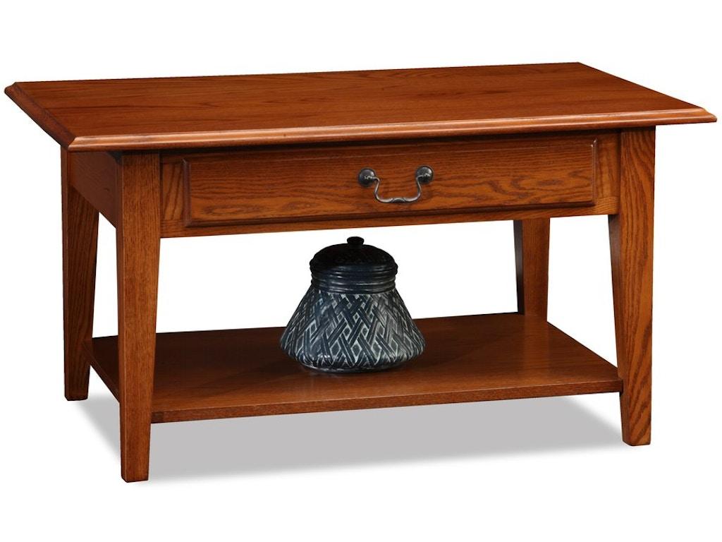 Leick Furniture Living Room Shaker Solid Oak Drawer Coffee Table 10029med Schmitt Furniture