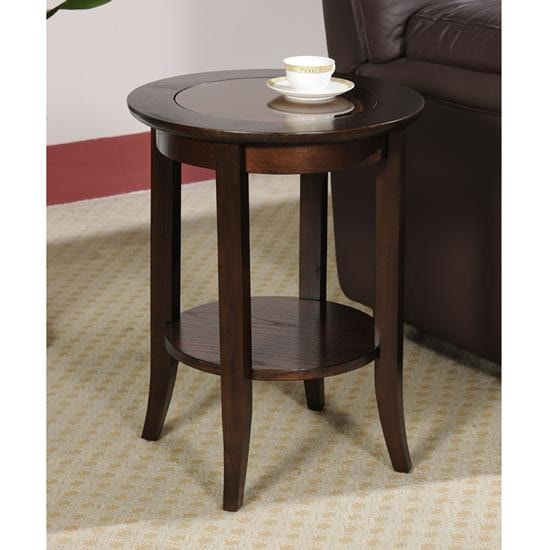 ... Leick Furniture Chocolate Bronze Round Side Table 10036