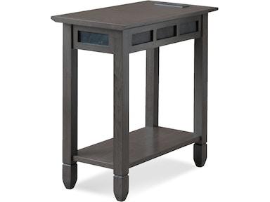 Leick Home Living Room Smoke Grey Oak and Black Slate Chair side ...
