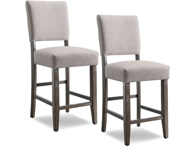 Leick Furniture Wood Upholstered Back Counter Height Stool with Heather Gray Seat 10086BB/HG