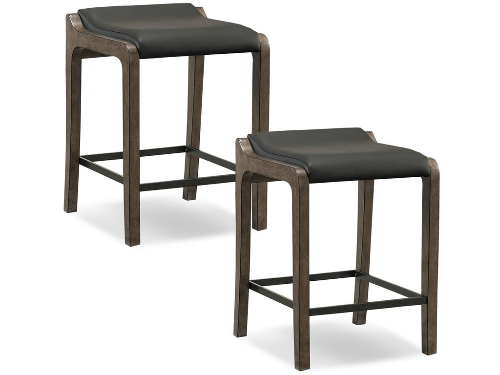 Leick Furniture Bar And Game Room Gray Stone Wood Fastback Counter Height Stool With Black Faux