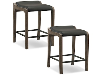 Leick Furniture Gray stone Wood Fastback Counter Height Stool with Black Faux Leather Seat 10116GS/BL