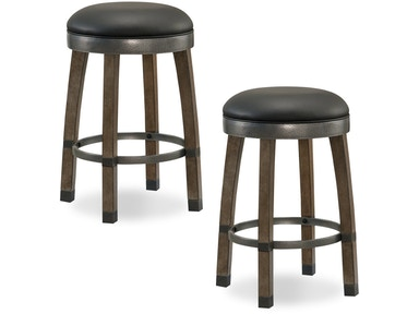 Leick Furniture Gray stone Wood Cask Stave Counter Height Stool 10118GS/BL