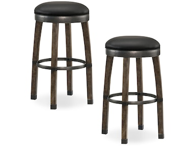 Leick Furniture Bar Height Stool with Black Faux Leather Seat 10119GS/BL