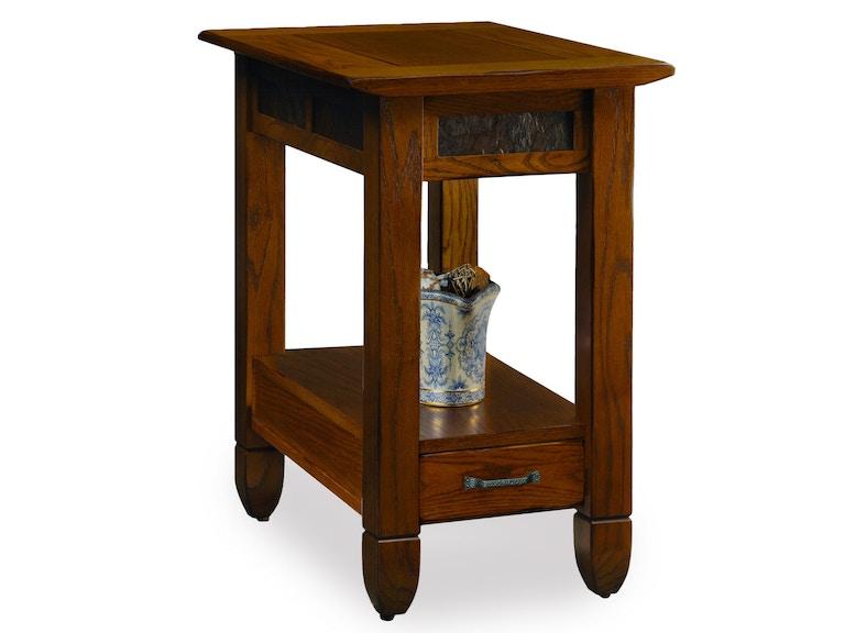 Leick Furniture Living Room Slate Stone Rustic Oak End Table 10906 Habegger Furniture Inc