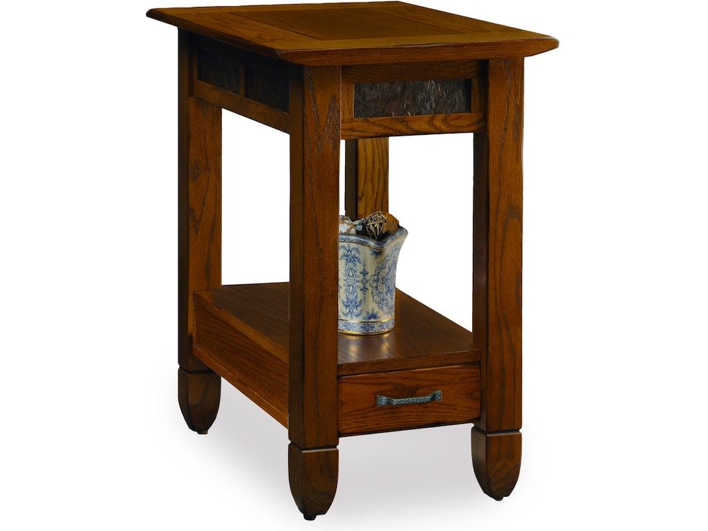 Leick Furniture Living Room Slatestone Rustic Oak End Table 10906