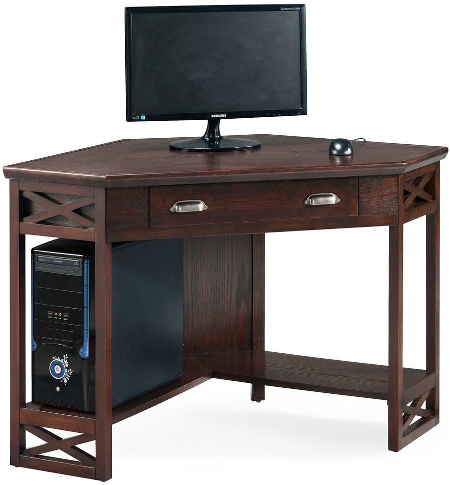 Leick Furniture Home Office Chocolate Oak Corner Computer