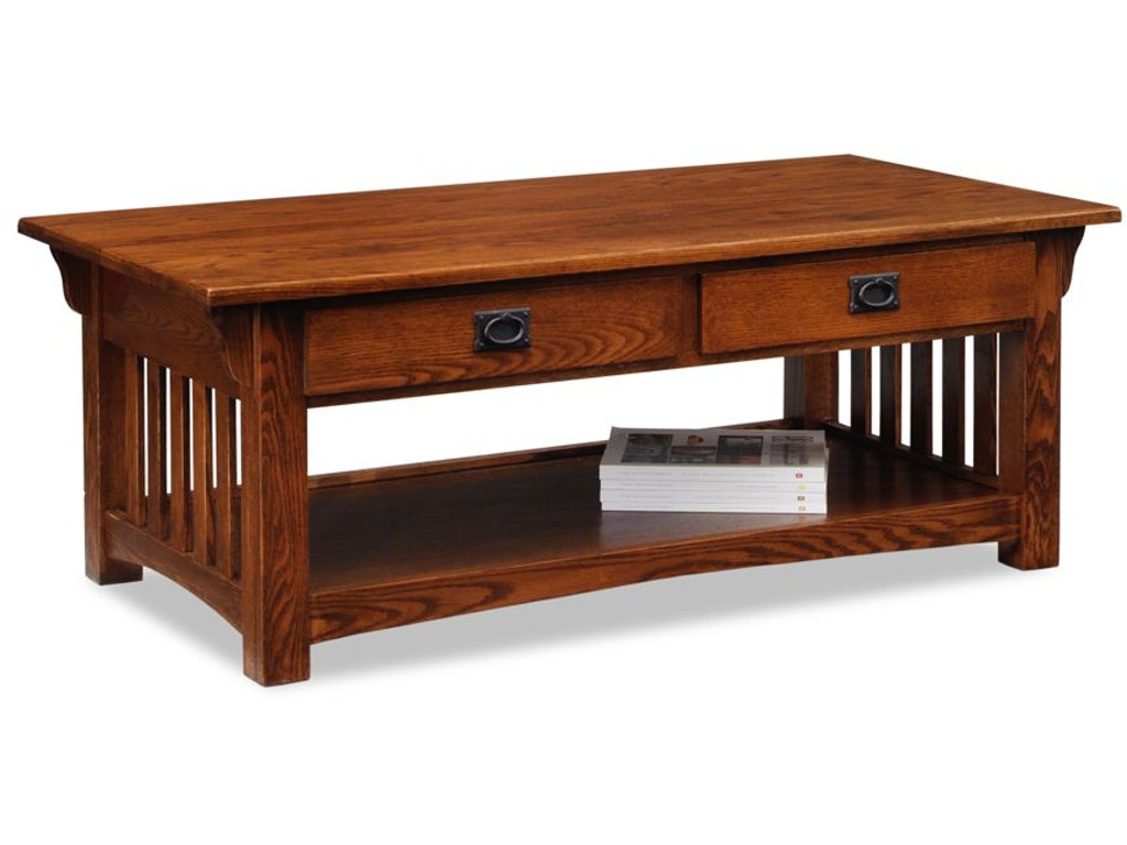 Leick Furniture Living Room Mission Two Drawer Coffee Table 8204 Schmitt Furniture Company