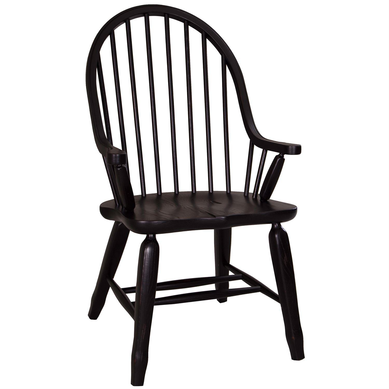 Liberty Furniture Dining Room Bow Back Arm Chair   Black 17 C4051   Sawmill  Inc   E Stroudsburg, PA
