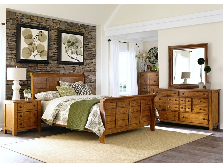 Liberty Furniture Bedroom King Sleigh Bed, Dresser and Mirror, Chest ...