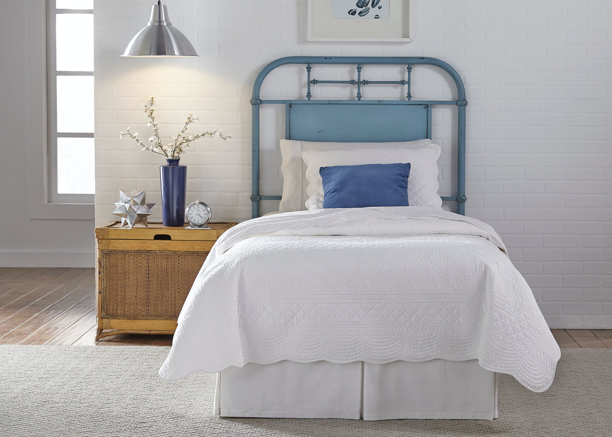 Liberty furniture youth twin metal headboard blue details classic vintage styling