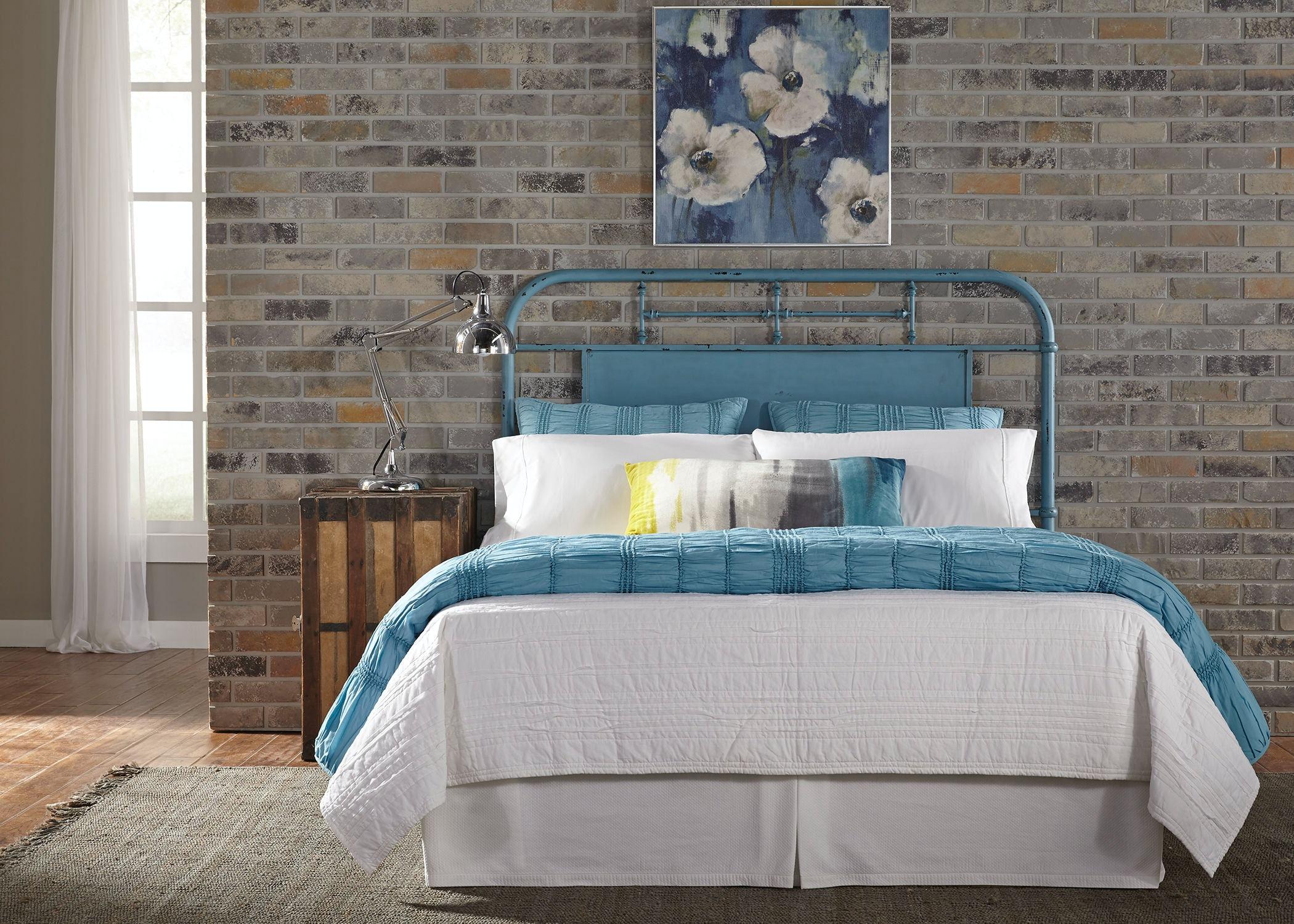 Liberty furniture bedroom king metal headboard blue details classic vintage styling