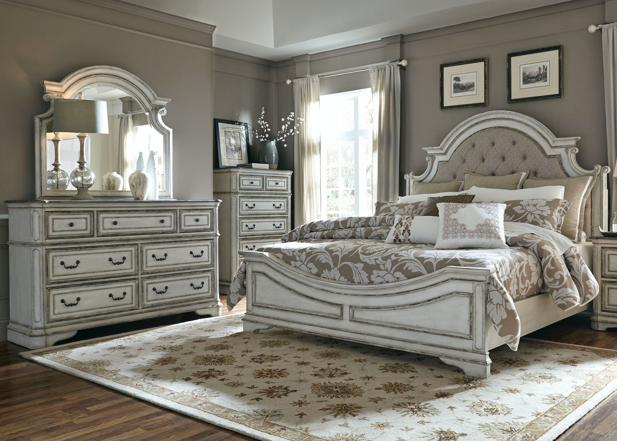 Liberty Furniture Queen Uph Bed, Dresser And Mirror, Chest 244 BR QUBDMC