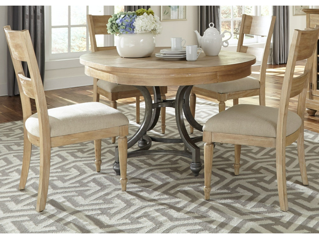 Liberty furniture dining room 5 piece round table set 531 for 5 piece dining room set with bench