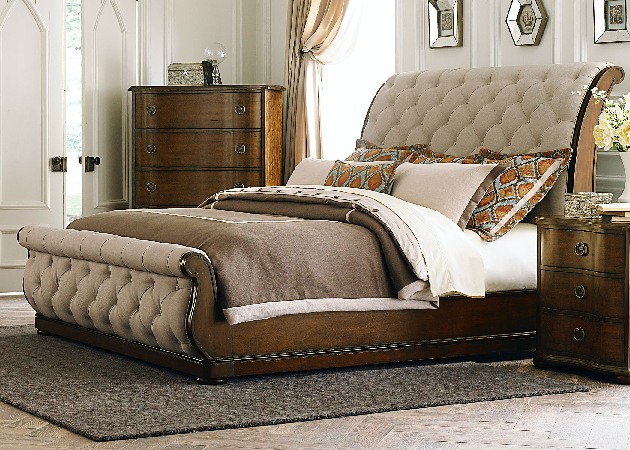 Beau Liberty Furniture Queen Uph Sleigh Footboard 545 BR21F