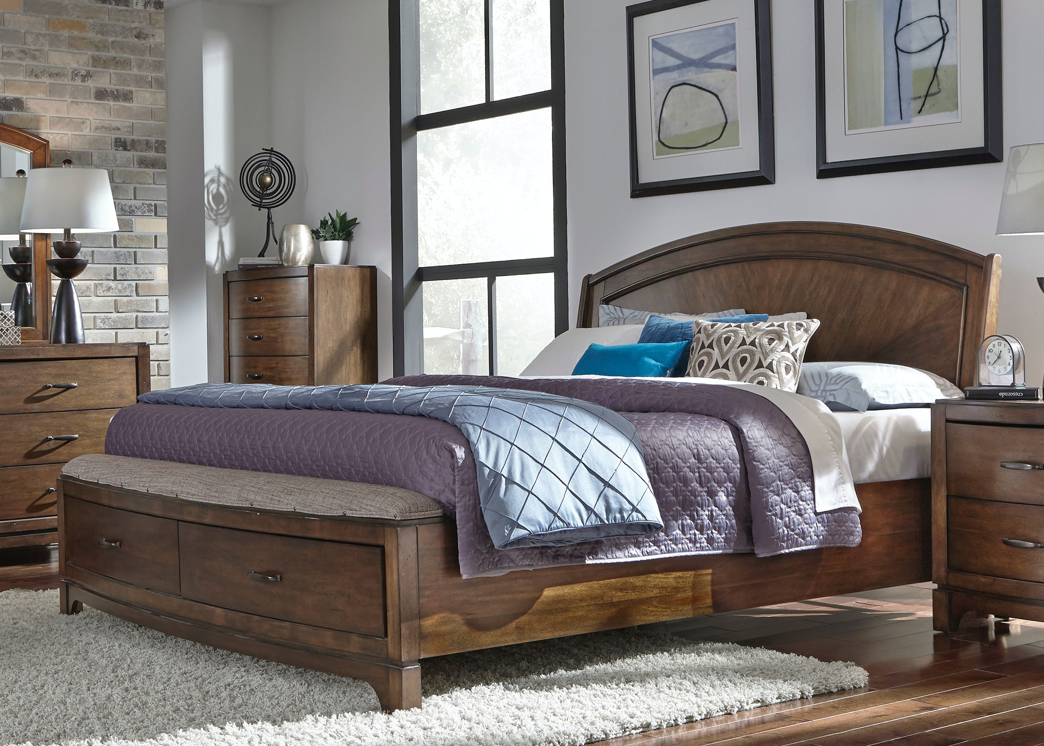 Liberty Furniture Bedroom Queen Panel Storage Bed 705 BR QPBS   Smith  Village Home Furniture   Jacobus And York, PA