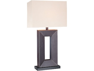 Lite Source Table Lamp, Leather Off-White Fabric Shade, A 100w LS-20325LTR