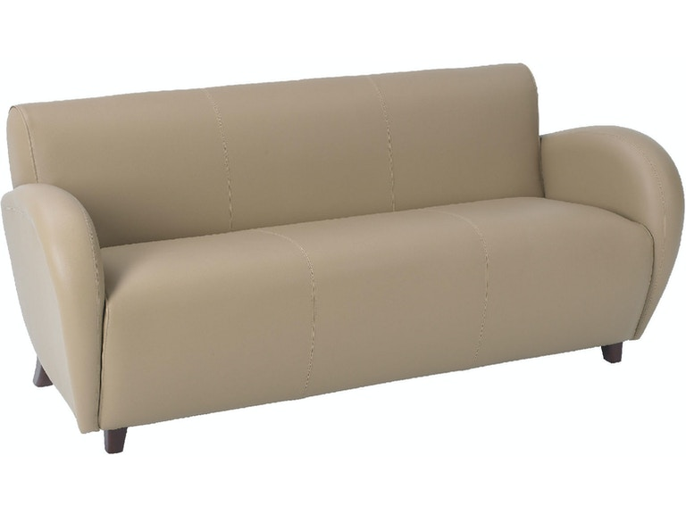 Office Star Products Living Room Eleganza Taupe Eco Leather Sofa