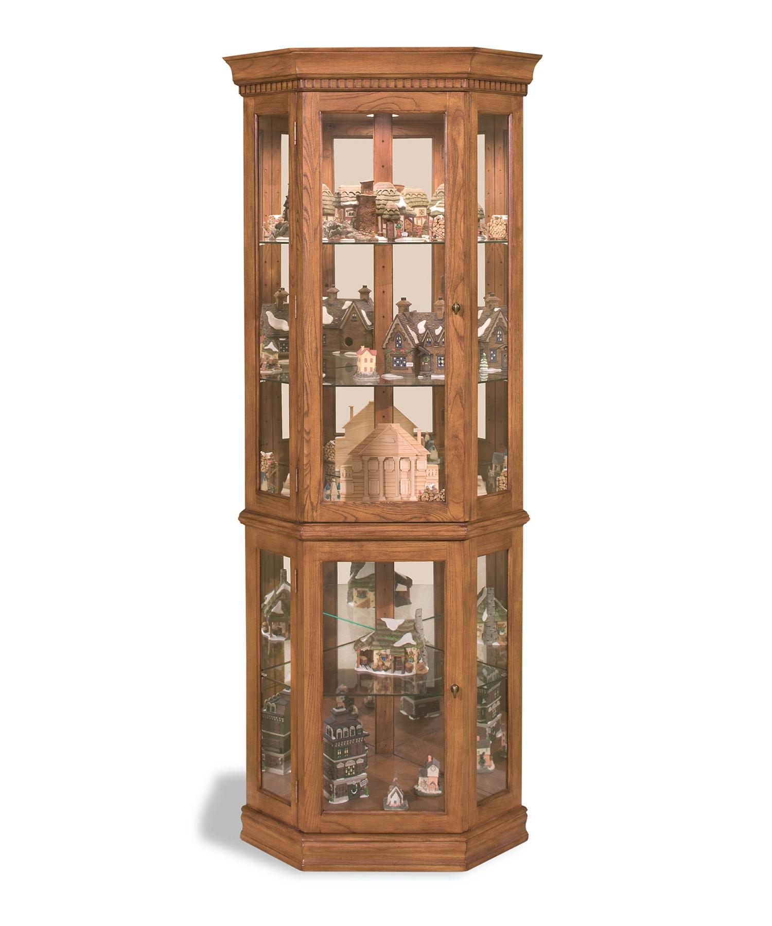 Philip Reinisch Living Room Classic Oak Corner Curio Cabinet