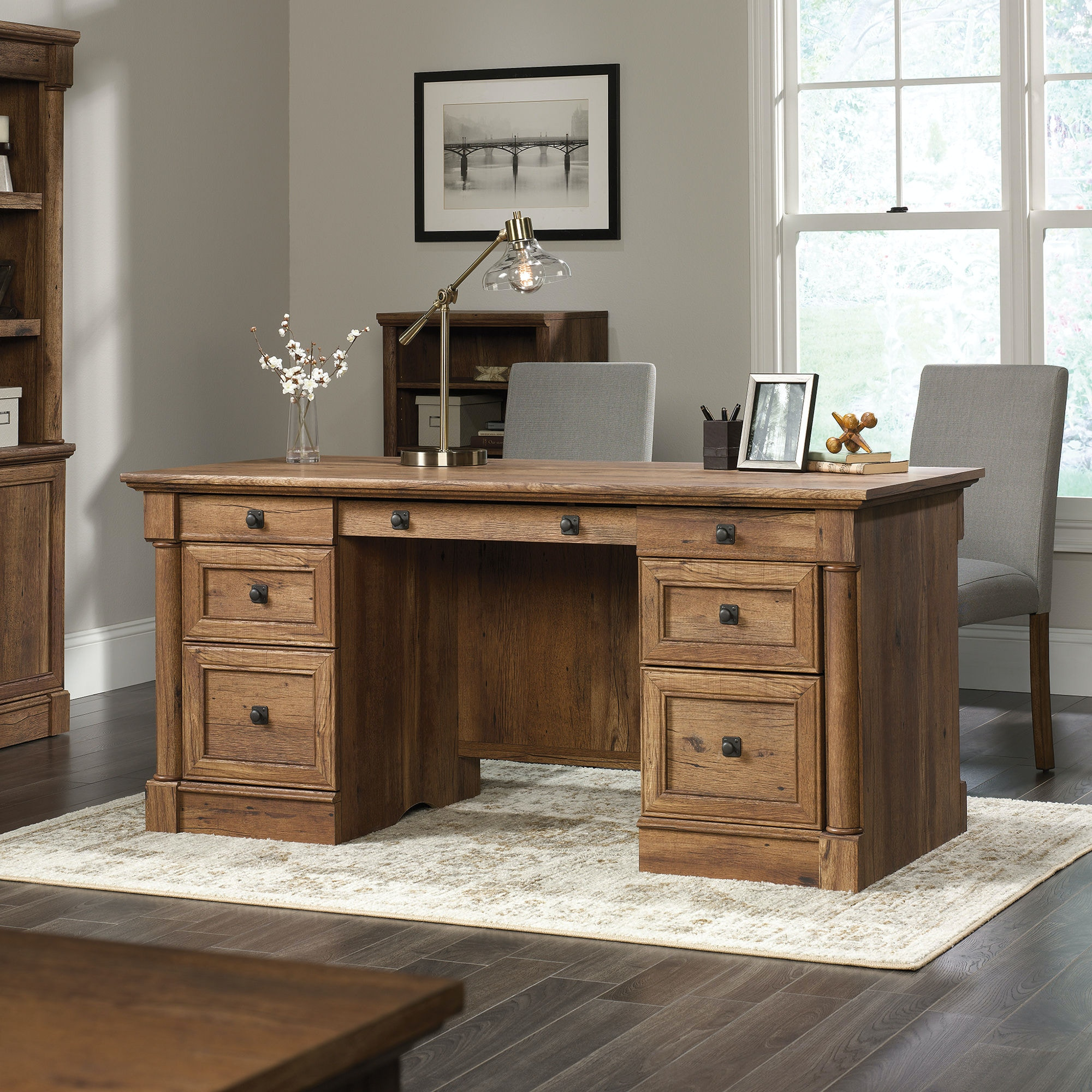 Sauder Home Office Executive Desk 420604 At Fiore Furniture Company