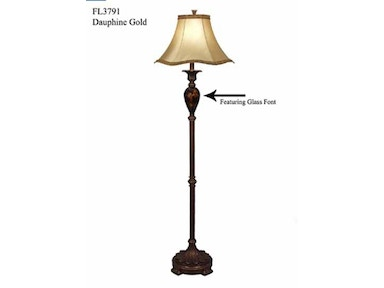 Stylecraft Lamps Floor Lamp and Shade 60 inch FL3791 DAUPHINE GOLD