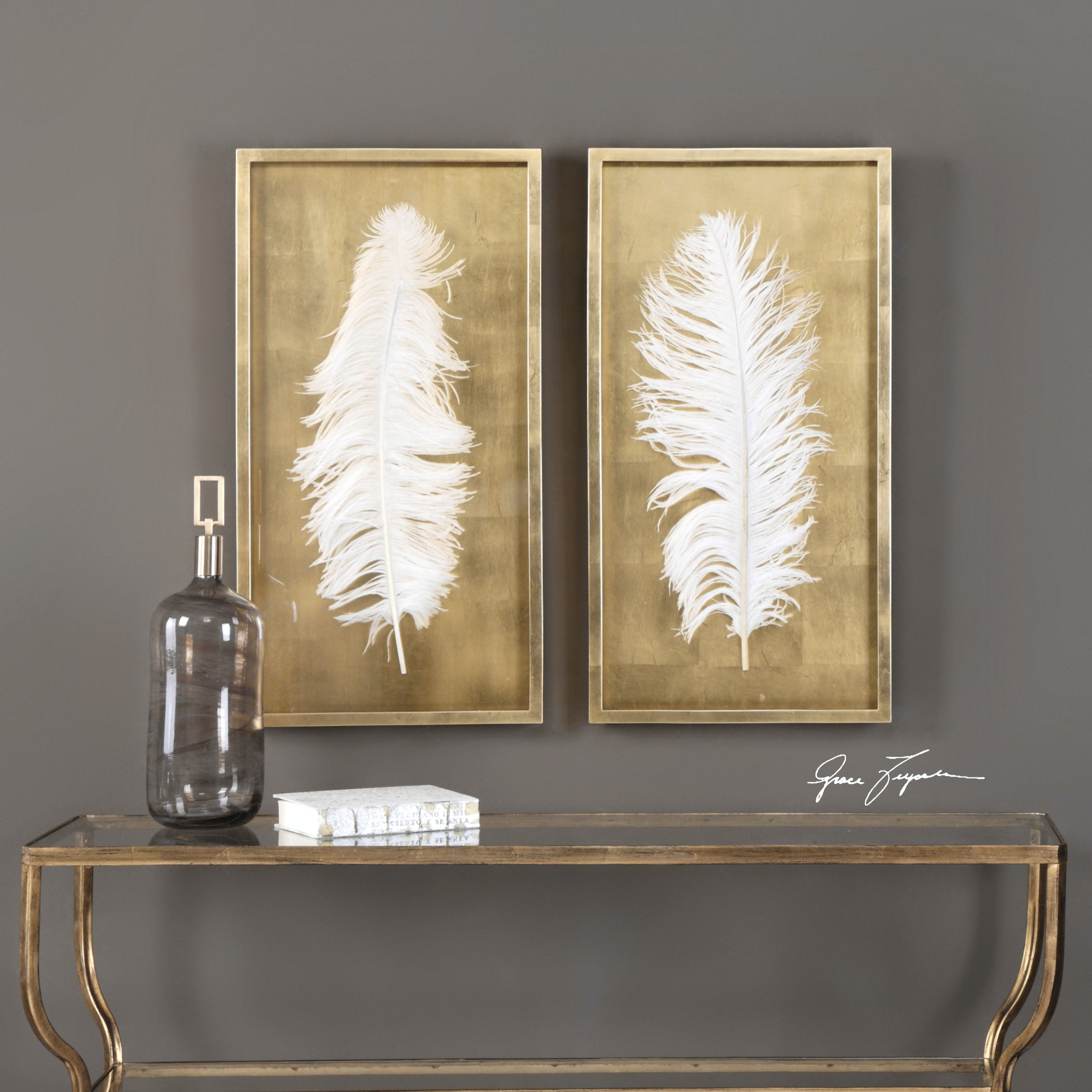 Charmant Uttermost White Feathers Gold Shadow Box S/2 04057