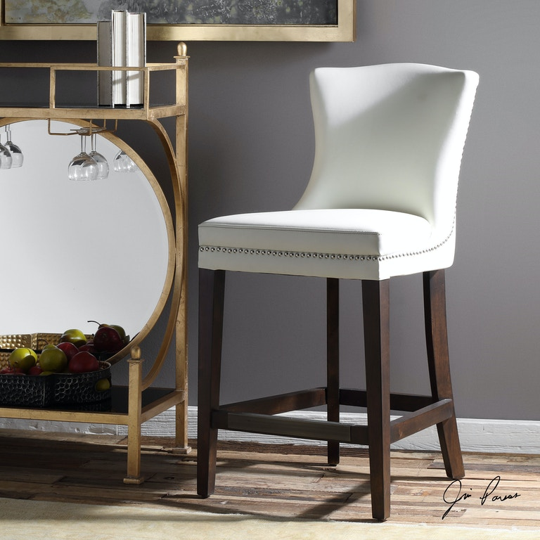 Uttermost Bar And Game Room Dariela White Counter Stool
