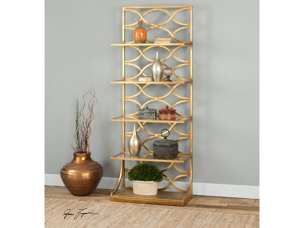 uttermost living room lashaya gold etagere 24447 hickory. Black Bedroom Furniture Sets. Home Design Ideas