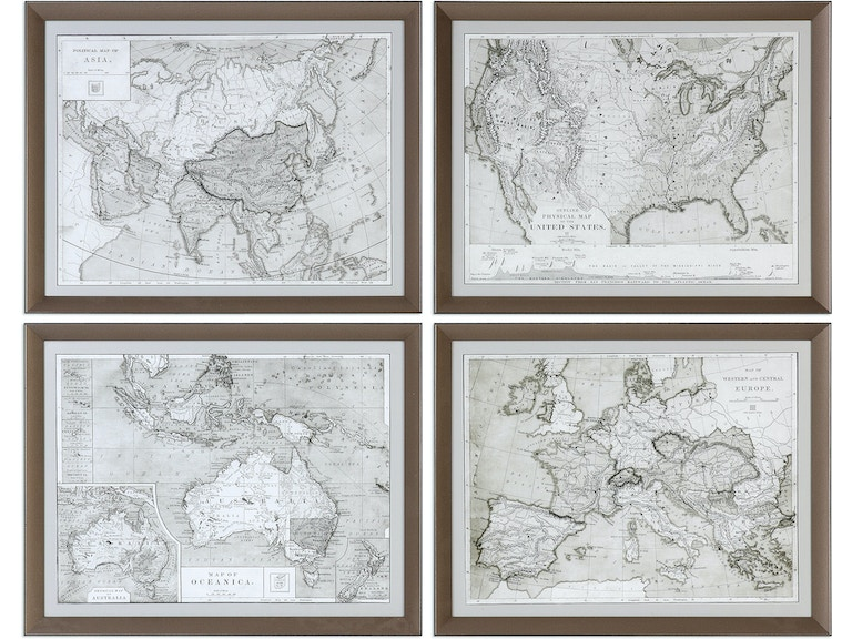 Uttermost Accessories World Maps Framed Prints S/4 33639 - Anderson ...