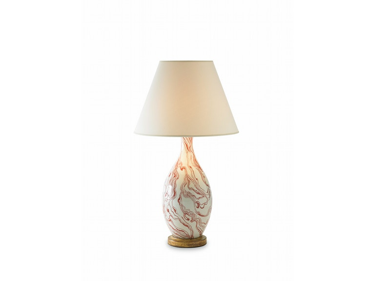 Bunny Williams Home Marbleized Lamp - Red BLH1113