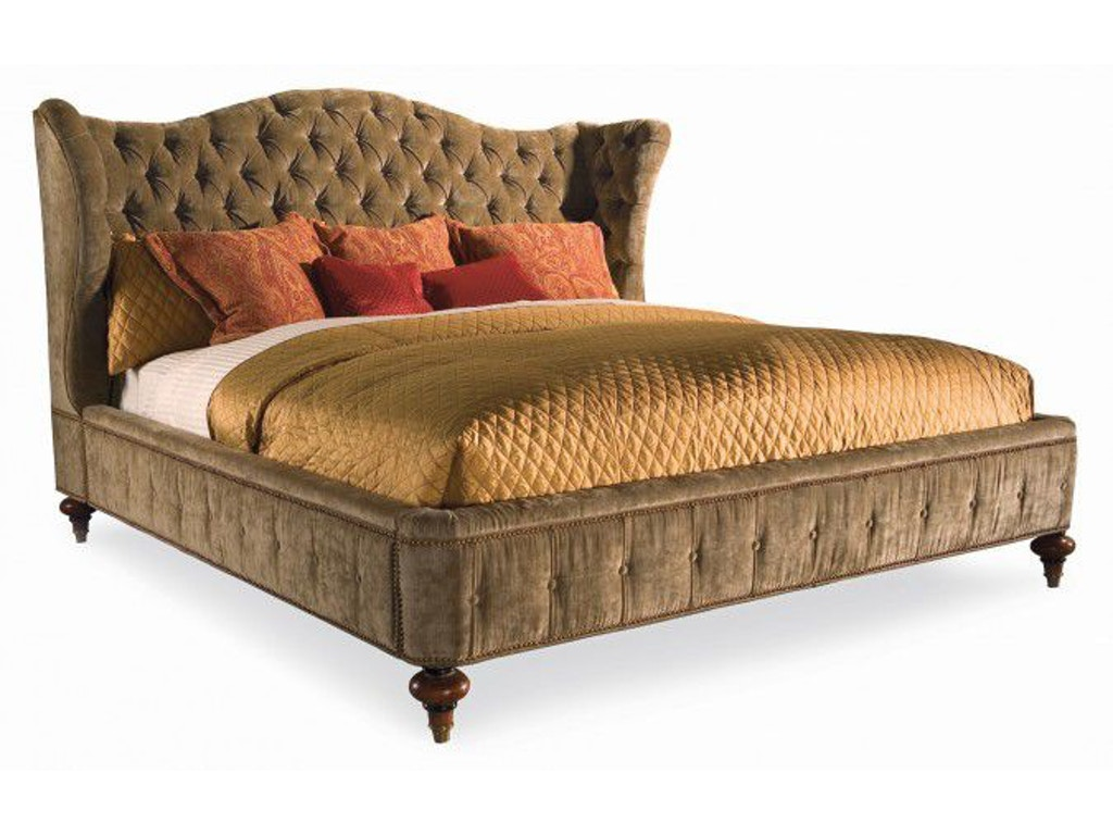 Hickory White Bedroom Queen Upholstered Wing Bed 735 11t