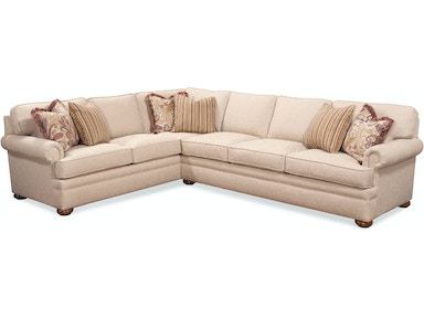 BC Options Kensington Panel Arm, Boxed Back, Bun Foot Sectional 7111 SECTIONAL