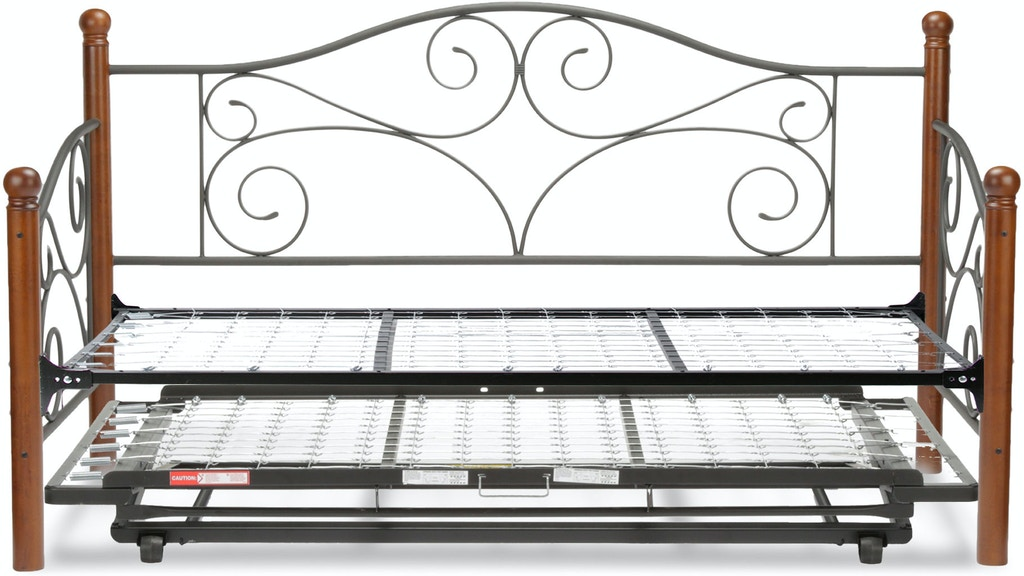 Fashion Bed Group Doral Complete Metal Daybed With Link Spring And Trundle Pop Up